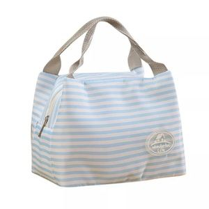 Lunch Bag Tote Insulated Bag. Light blue and white